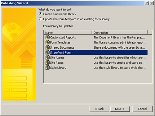 create a form library from infopath creating a sharepoint form with infopath designer informit