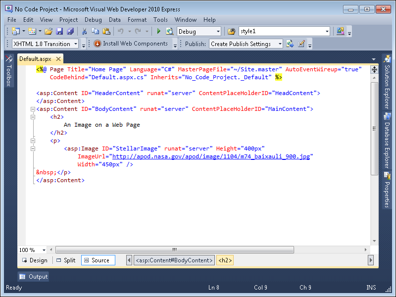 developing a web project with microsoft visual c 2010 microsoft