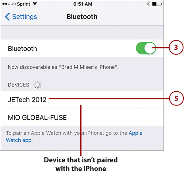 Using Bluetooth to Connect to Other Devices   Connecting