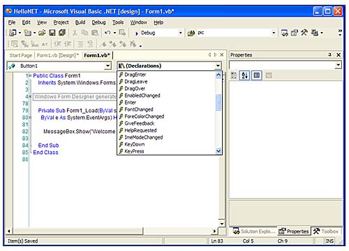 Writing Windows Forms Applications in Visual Studio  NET