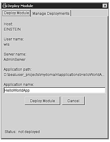 Deploying Your First Web Application Using the WebLogic Builder