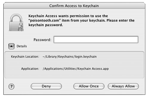 here was a problem accessing your keychain