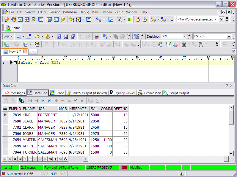 Toad for Oracle Unleashed: Working with SQL | Editor Window | InformIT