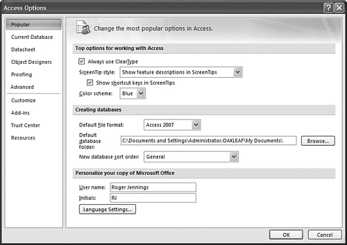 Setting Default Options | Navigating the New Access User