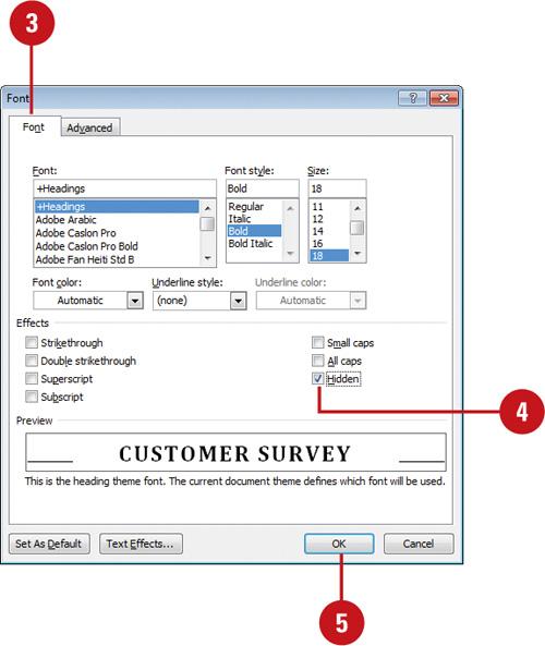 Hiding Text | Formatting Documents in Microsoft Word 2010 | InformIT