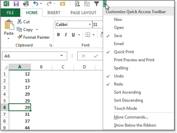 Using the Quick Access Toolbar | Using the Excel 2013 Interface ...