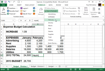 how to get a total of names in excel
