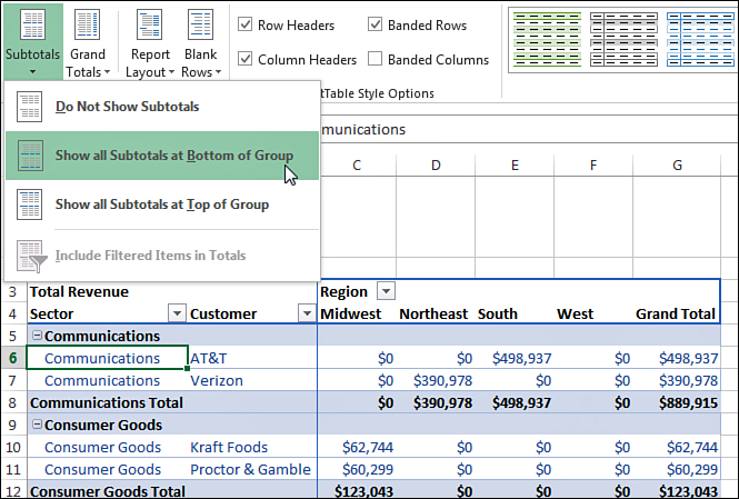 making report layout changes customizing an excel 2013 pivot table
