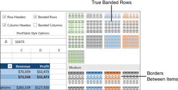 Customizing the Pivot Table Appearance with Styles and Themes