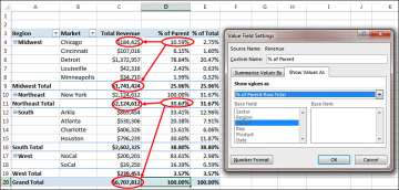 Changing the calculation in a value field customizing an excel an option in excel 2013 enables you to calculate a percentage of the parent row ccuart Image collections
