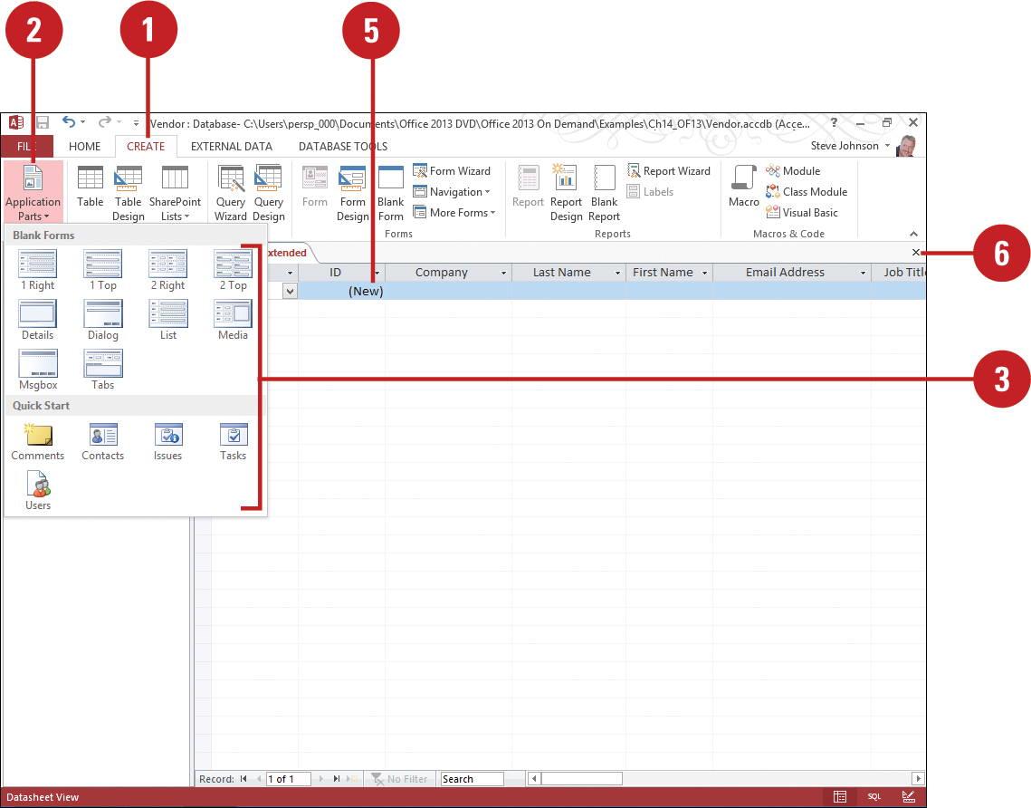 creating an application part using a template planning and