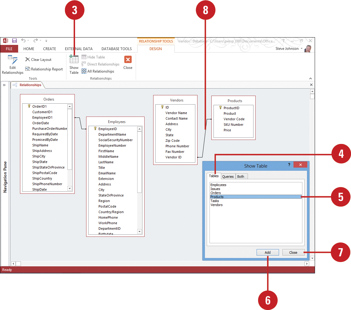 Defining Table Relationships Planning And Creating A Custom Access