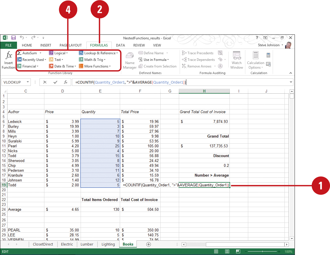 Using Nested Functions | Working with Formulas and Functions