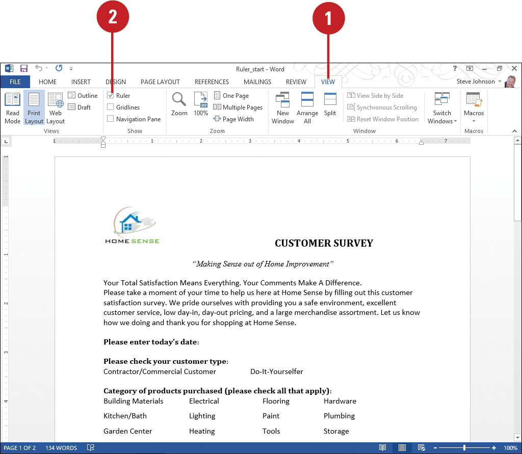 Displaying Rulers   Formatting Documents in Word 2013   InformIT