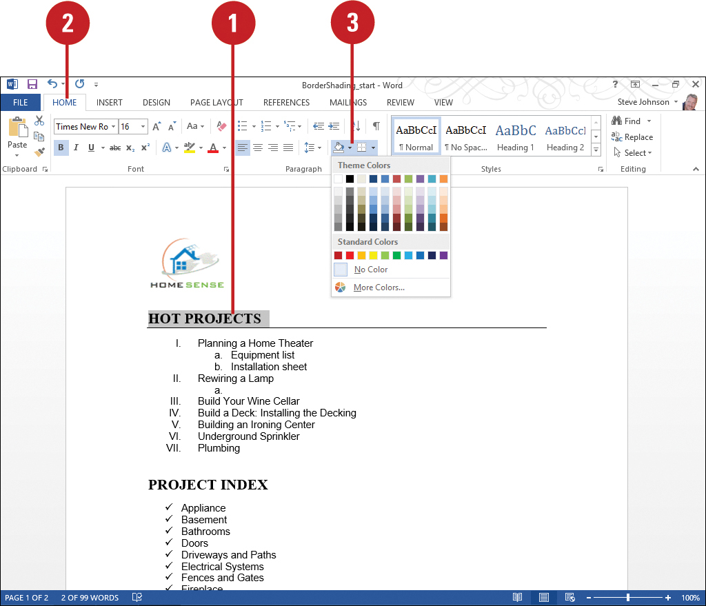 Applying Borders and Shading | Formatting Documents in Word