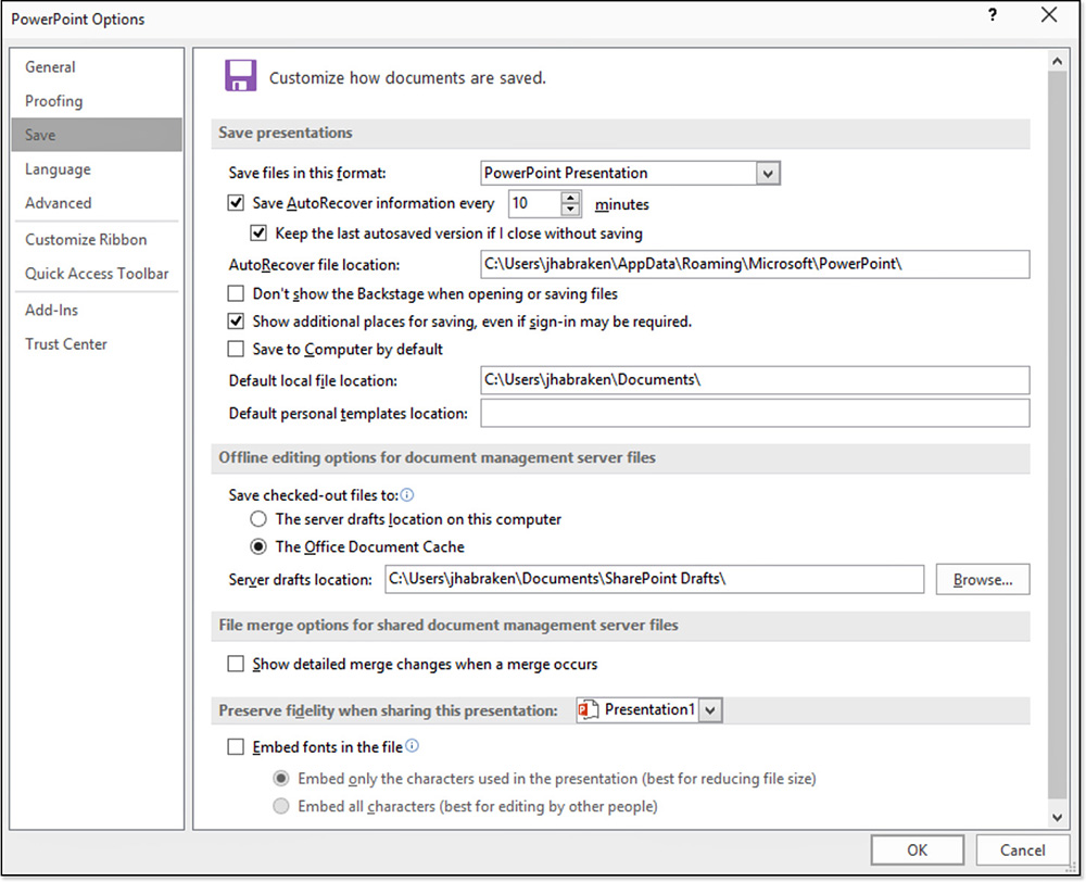 Configuring save file options managing and sharing office files configuring save file options managing and sharing office files informit alramifo Choice Image