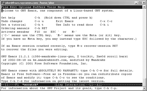 Starting emacs and Dabbling with It | Unix and Linux Visual