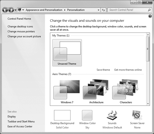 Setting The Desktop Theme Personalizing Your Work Environment In
