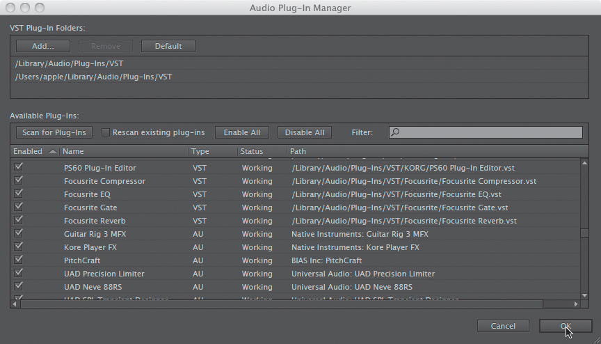 Third-party effects (VST and AU) > Signal Processing in Adobe