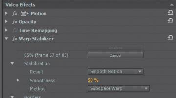 Stabilizing footage with the Warp Stabilizer > Advanced Digital