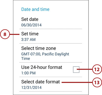 Changing the Date and Time | Customizing Android to Your