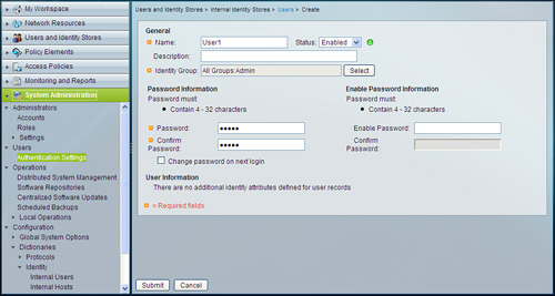 Users and Identity Stores > Cisco AAA Identity Management