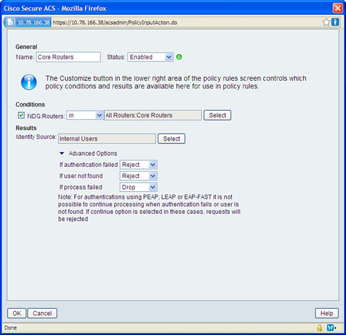 Access Policies > Cisco AAA Identity Management Security