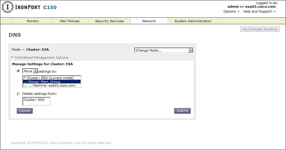 WUI with Centralized Management > Cisco IronPort ESA Web