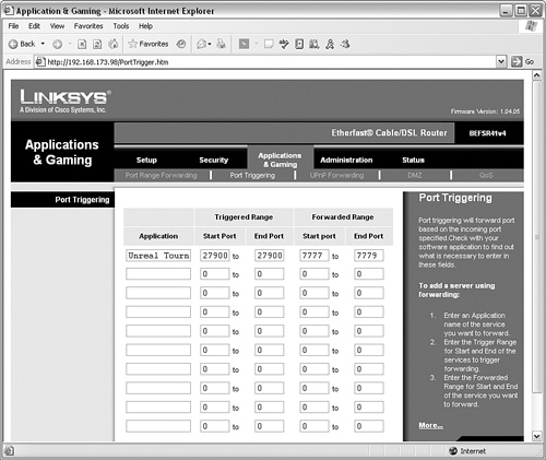 Configuring Linksys > Broadband Routers and Firewalls