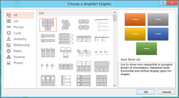 choose from a variety of smartart graphic layouts