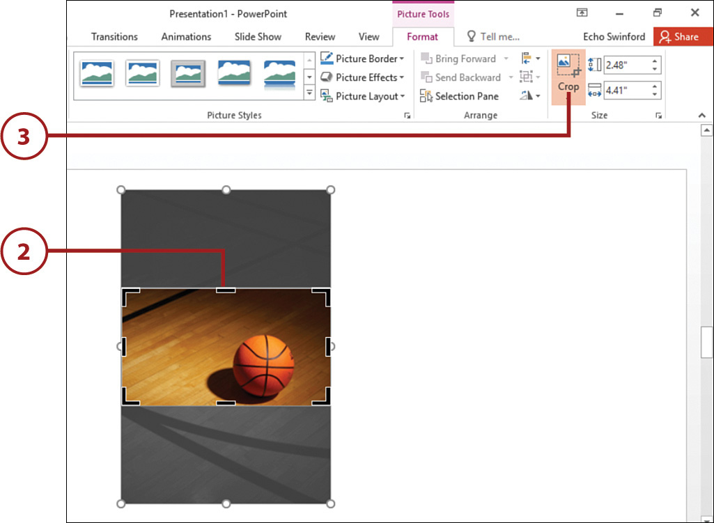 cropping and resizing pictures working with pictures in powerpoint