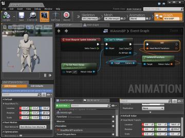 Setting up head ik character inverse kinematics informit figure 78 animation blueprint head transform setup malvernweather Image collections