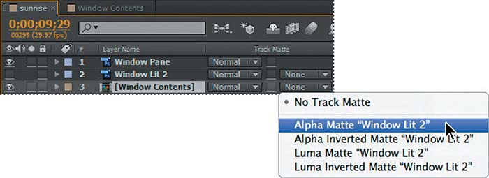 Creating the track matte > Adjusting the Layers and Creating