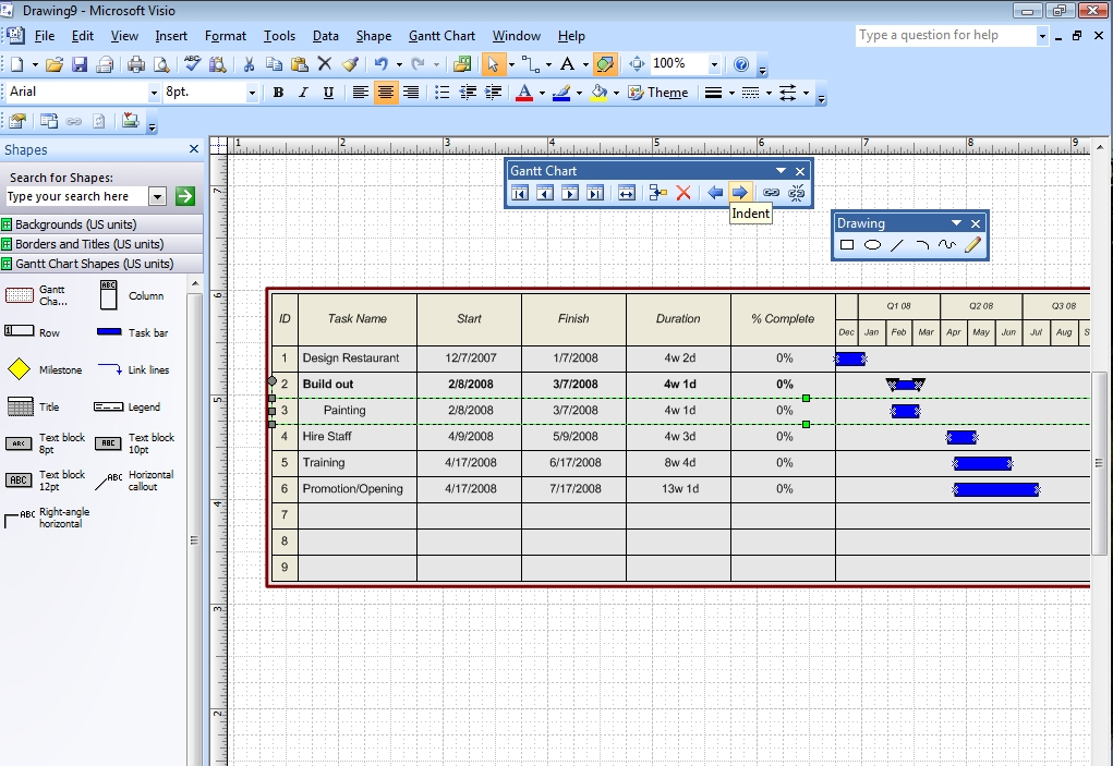 Project Management With Visio 2007 Gantt And Pert Charts Microsoft