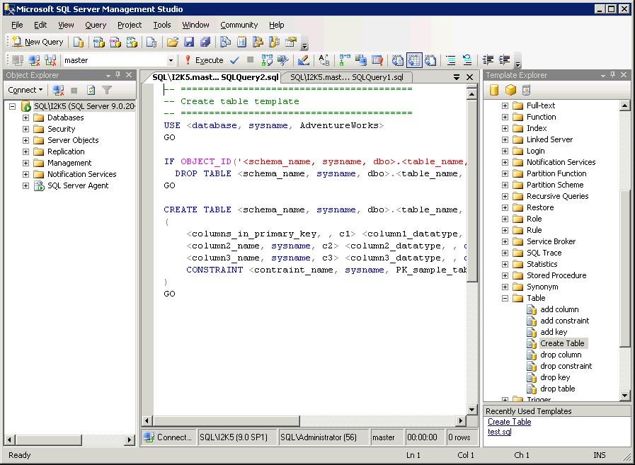 Using SQL Server Templates | SQL Server Reference Guide | InformIT