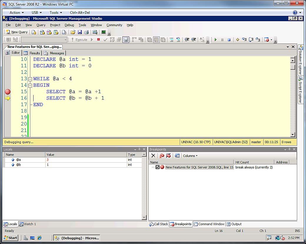 The SQL Server Transact-SQL Debugger | SQL Server Reference Guide