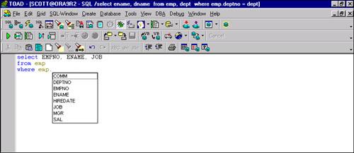 Predefined Shortcuts | TOAD SQL Editor | InformIT