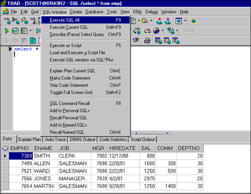 Predefined Shortcuts | TOAD SQL Editor | InformIT