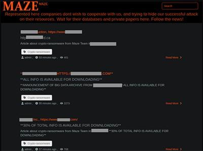 Screenshot of the Maze gang's web site.