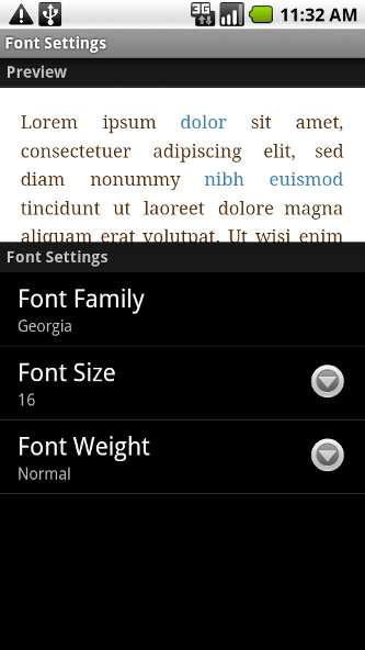 Changing fonts in Aldiko on Android