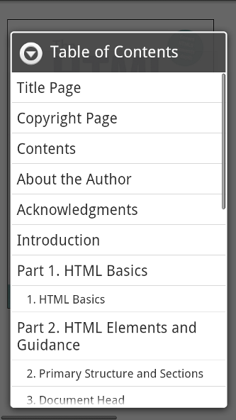Aldiko Table of Contents on Android