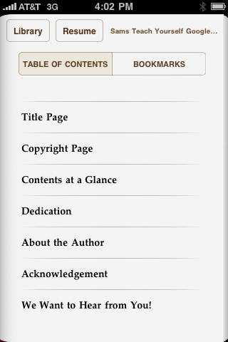 eBook TOC on iPhone