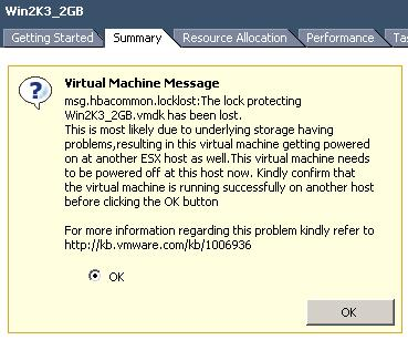 Virtual machine message