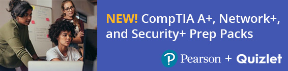 CompTIA Exam Prep Packs from Pearson and Quizlet